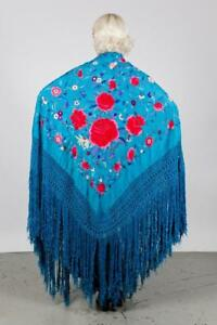 Dead Stock Antique Chinese Hand Embroidered Blue Silk Shawl Canton Piano Mint