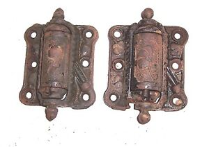 2 Vintage Screen Door Hinges Quick Release Old Self Closing Spring Still Good
