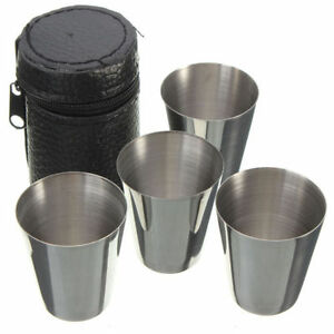 4 x Stainless Steel Cups Mug With PU Cover Case Coffee Tea Beer Camping Tumbler
