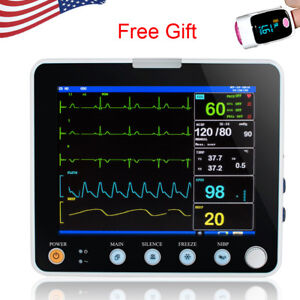 8 Inch Multi parameter Icu Ccu Vital Sign Patient Monitor Ecg Nibp Resp Temp Fda