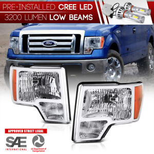 Pre Installed Led Low Beam 2009 2014 Ford F150 Factory Style Head Lights Pair