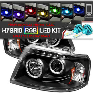 color Changing Led Low Beam 03 06 Ford Expedition Halo Led Projector Headlight