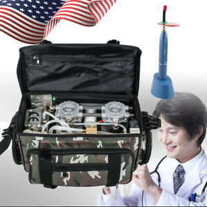 Portable Dental Unit With Air Compressor Suction System Camouflage curing Lamp