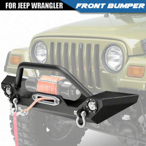 Front Bumper Winch Plate D Rings Led Accent Lights Fit For 97 06 Jeep