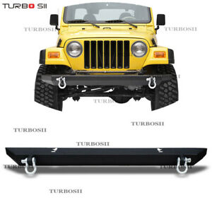 87 06 Jeep Wrangler Tj Yj Textured Rear Bumper With Hitch Receiver