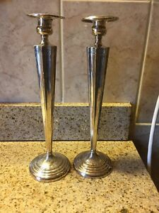 Vintage Rwm Sterling Silver Candlesticks 228 Weighted 11 7 8 Tall
