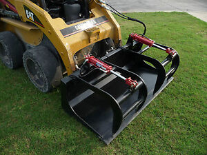 Skid Steer Attachment 66 Dual Cylinder Solid Bottom Bucket Grapple Free Ship
