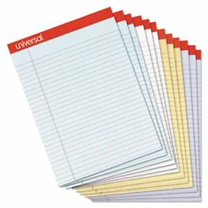 Universal Colored Perforated Ruled Writing Pads 8 1 2x11 12 Pads unv35879