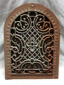 One Antique Cast Iron Arch Gothic Heat Grate Wall Register 9x12 Dome Vtg 23 19c