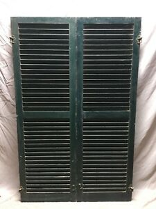 Medium Pair Antique House Window Wood Louvered Shutters 19x59 Shabby Vtg 53 19d