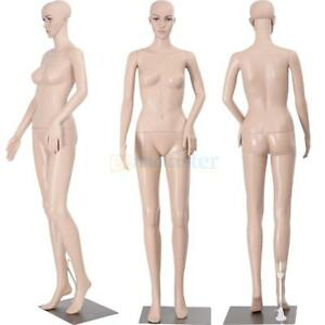 New Female Mannequin Plastic Realistic Display Head Turns Dress Form W Base