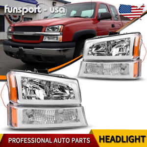 For 2003 2006 Chevy Silverado Chrome Housing Amber Headlight lamp W led Drl Us