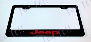 Jeep Trailhawk Red Stainless Steel Black License Plate Frame W Caps