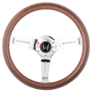 Classic Wood Grain 350mm Brown Steering Wheel W Black Trim Spokes Silver H