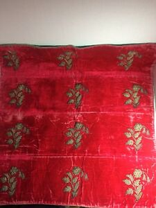 Vintage Antique Velvet Piece With Silver Metallic Embroidery