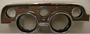 1968 68 Ford Mustang Instrument Bezel Deluxe Wood Woodgrain Finish W O Emblem