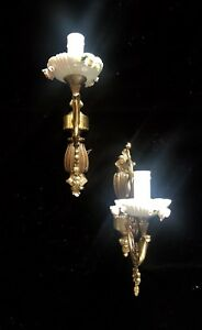 Two Gorgeous Antique Porcelain Brass Wall Sconces With Roses