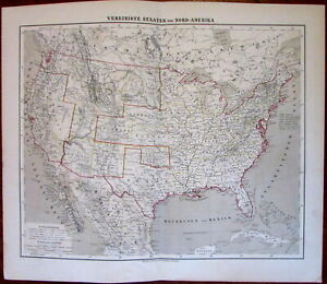 United States Entire Country 1874 Flemming Detailed Old Map