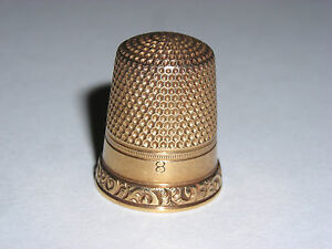 Ketcham Mcdougall Brooklyn Ny 14k Yellow Gold Sewing Thimble Size 8 Old