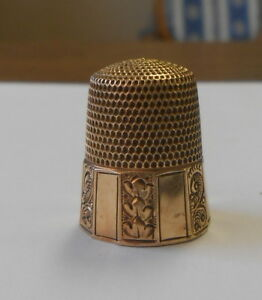 10k Gold Antique Sewing Thimble Hallmarked A Over Shield 10 Size Etched Design
