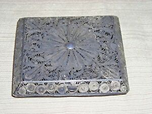 Vintage Solid Silver Ornate Filigree Designed Cigarette Case Card Case