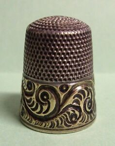 Vintage Antique Sterling Silver Gold Band Simons Brothers Bros Thimble Scrolls