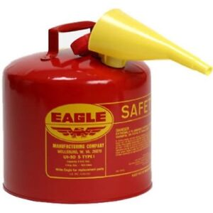 Eagle 5 gallon Metal Gasoline Can Red Gas Fuel Tank Steel New Pour Spout Liquids