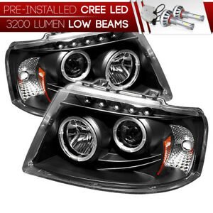 cree Led Bulb 03 06 Ford Expedition Black Dual Halo Projector Headlight Lamp