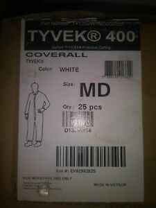 Coverall Disposable Protective White Medium Dupont Tyvek 400 Ty125s pack Of 25