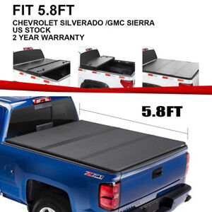 Hard Tri fold Truck Bed Tonneau Cover Fit 14 18 Chevy Silverado gmc 5 8ft Bed