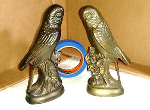 Vintage Brass Parrot Bookends 7 3 4 Tall Nice Patina