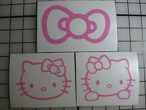 Three Pink Hello Kitty Vinyl Decal Car Window Bumper Sticker Bow Jdm Ipad Cat Pc