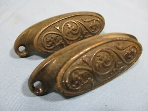 2 Matching Eastlake Drawer Pulls Ornate Victorian Hardware Cabinet Dresser