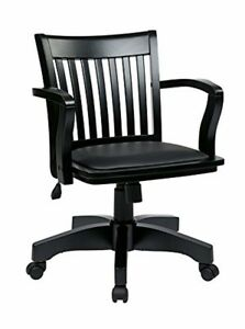 Office Star Osp Designs Wood Bankers Desk Chair With Vinyl Seat