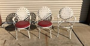 Francois Carre Style French Art Deco Antique Sunburst Wrought Iron Patio Chairs