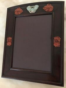 Old Antique Chinese Rosewood Photo Picture Frame With Carnelian