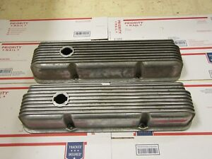 Vintage Cal Custom 9 Finned Aluminum Valve Covers 40 1018 Ford 352 390 428 Lot B