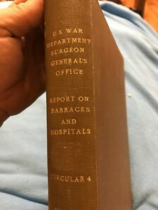 Antique Medical Book Circular 4 War Dept Surgeon General Barracks Hospital 1870
