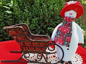 Amish Made David The Snowman Doll W Reindeer Sleigh Bells Wicker Sled Set Of 2