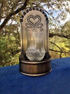 Antique Primitive Punched Tin Wall Table Sconce Heart Cut Glass Globe 10 X 5