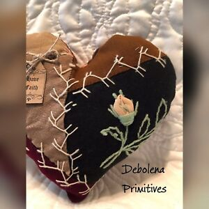 Primitive Heart 1880s Crazy Quilt Amazing Embroidery Pillow Tag Have Faith