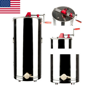 Manual Large 2 Frame Honey Extractor Beekeeping Equipment Stainless Steel New Us