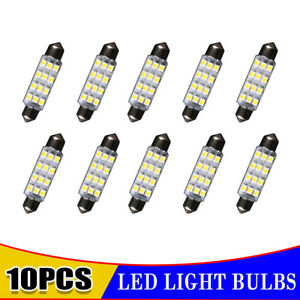 10x White Festoon Dome Map Interior Led Bulbs 42mm 41mm 12 Smd 211 2 212 2 New