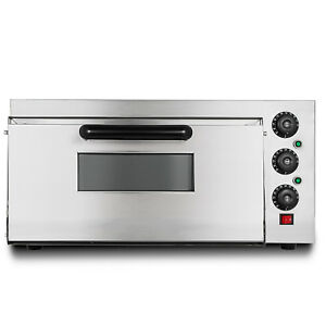 Electric 2000w Pizza Oven Single Deck Countertop Rotisserie Stainless Steel