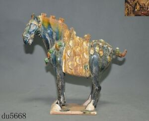 Old China Fengshui Dynasty Tang San Cai Porcelain Glaze Tang Horse Animal Statue