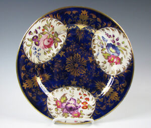 Antique Early 19th C Signed Derby English Porcelain Plate Cobalt Blue
