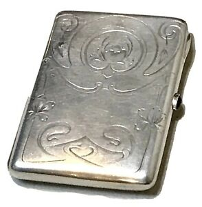 Antique Vintage Russian Imperial Silver 84 Cigarette Case Ruby Naumov