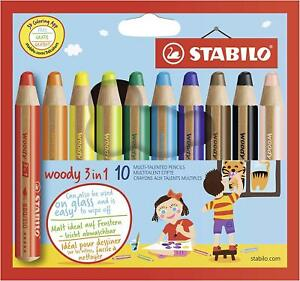 Stabilo Woody 3 In 1 Colouring Pencils Wallet Of 10 New Made In Japan