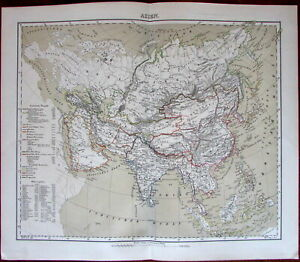 Asia Arabia India Siam China Tartary Russia 1874 Flemming Detailed Old Map