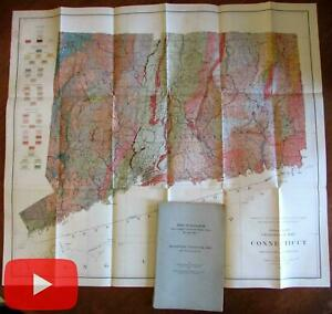 Connecticut Geological Map 1906 Large Preliminary Gregory Robinson